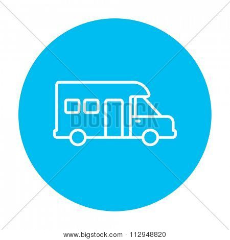 Motorhome line icon for web, mobile and infographics. Vector white icon on the light blue circle isolated on white background.