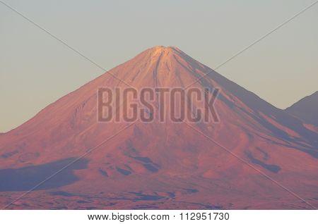 Volcano Licancabur By San Pedro De Atacama At Sunset Time.