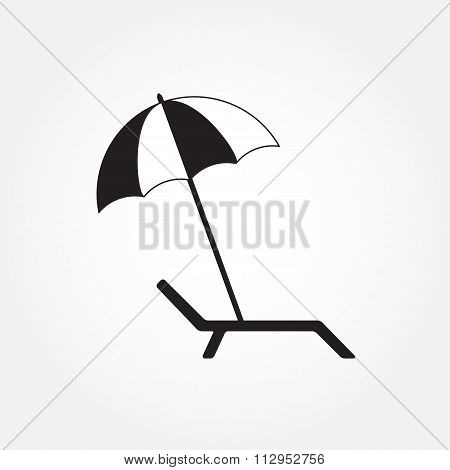 Lounger or chaise lounge and beach umbrella icon isolated on white background. Vector illustration.