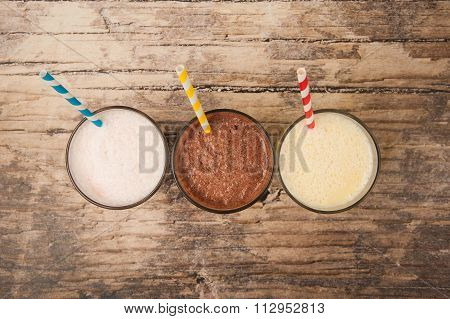 Top view Milkshakes