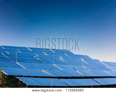 Solar power plant on background with blue sky