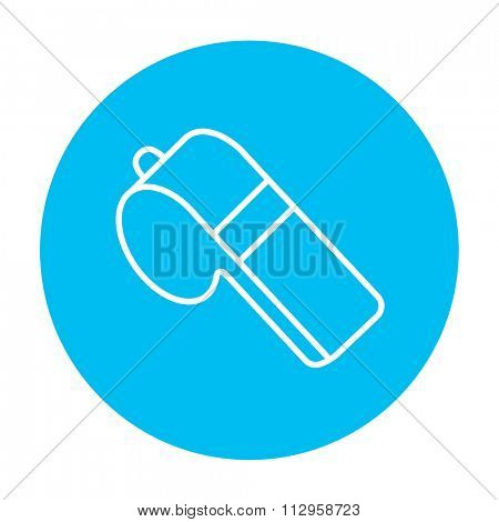 Whistle line icon for web, mobile and infographics. Vector white icon on the light blue circle isolated on white background.