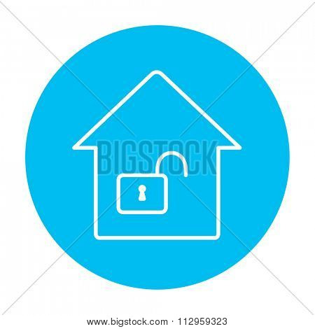 House with an open lock line icon for web, mobile and infographics. Vector white icon on the light blue circle isolated on white background.