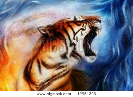 gentle portrait tiger. computer collage. Color Abstract background. Animal concept.