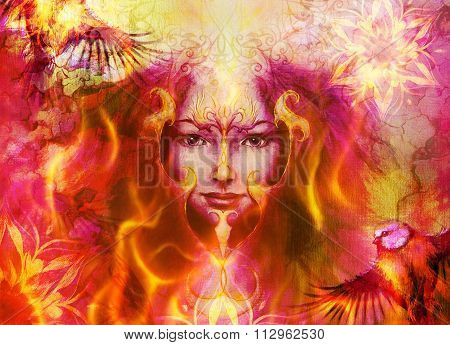 beautiful illustration women and mandala in fire, with birds on multicolor background eye contact.