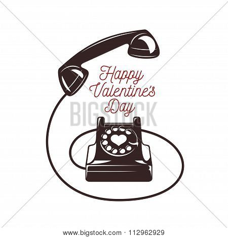 Valentine day card. Vintage phone with greeting text. Vector illustration.