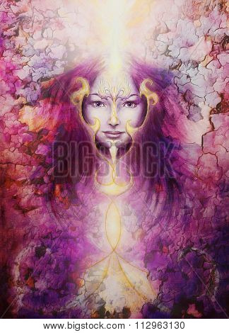 beautiful painting of a violett angelic spirit with a woman  face and golden ornaments, in clouds of