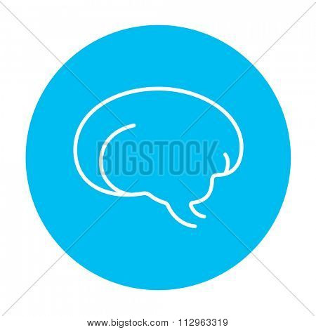 Brain line icon for web, mobile and infographics. Vector white icon on the light blue circle isolated on white background.