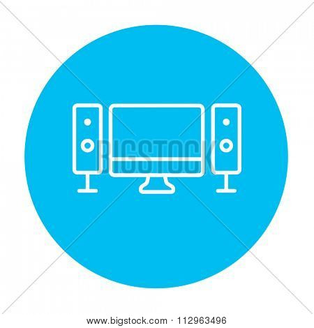 Home cinema system line icon for web, mobile and infographics. Vector white icon on the light blue circle isolated on white background.