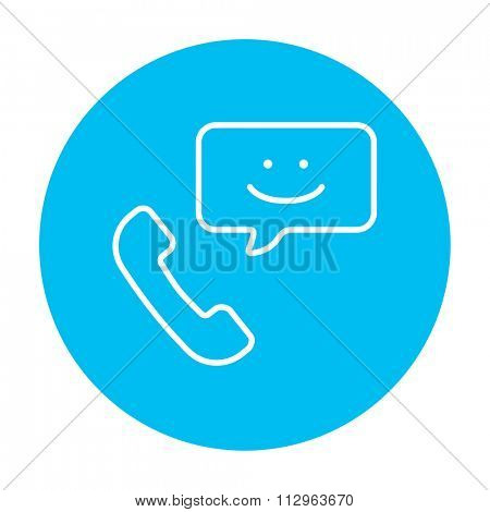 Receiver with speach square line icon for web, mobile and infographics. Vector white icon on the light blue circle isolated on white background.