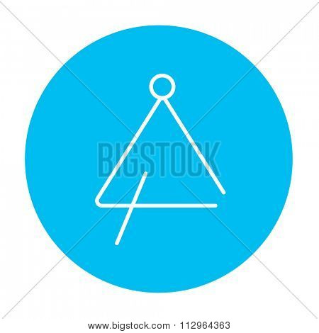 Triangle line icon for web, mobile and infographics. Vector white icon on the light blue circle isolated on white background.