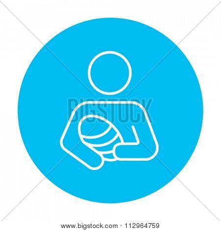 Woman holding the baby line icon for web, mobile and infographics. Vector white icon on the light blue circle isolated on white background.