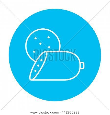 Sliced wurst line icon for web, mobile and infographics. Vector white icon on the light blue circle isolated on white background.