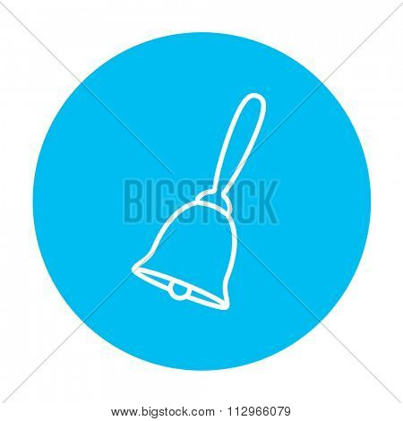 School bell line icon for web, mobile and infographics. Vector white icon on the light blue circle isolated on white background.