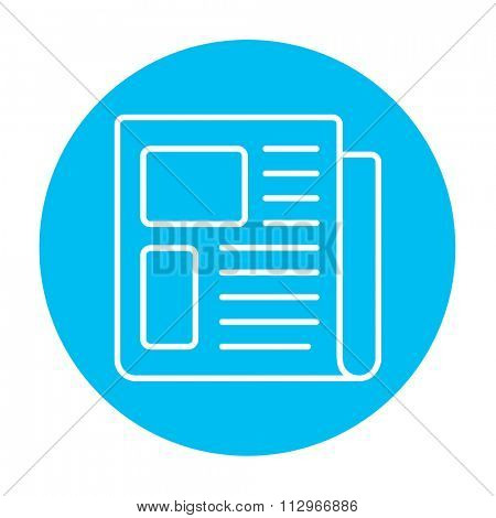 Newspaper line icon for web, mobile and infographics. Vector white icon on the light blue circle isolated on white background.