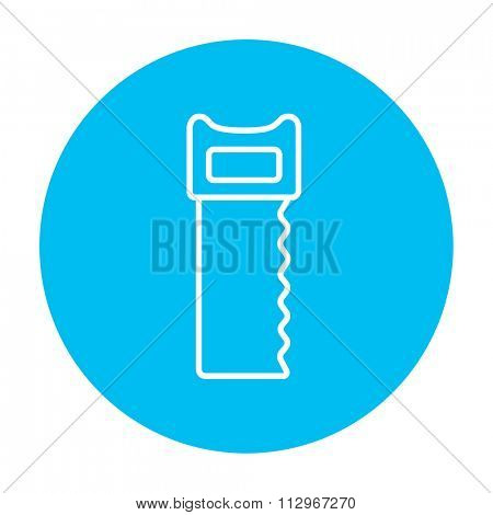 Saw line icon for web, mobile and infographics. Vector white icon on the light blue circle isolated on white background.