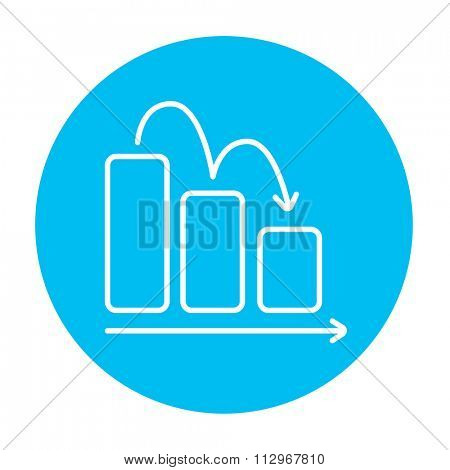 Bar chart going down line icon for web, mobile and infographics. Vector white icon on the light blue circle isolated on white background.
