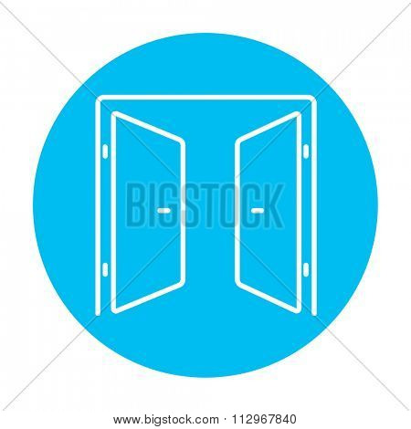 Open doors line icon for web, mobile and infographics. Vector white icon on the light blue circle isolated on white background.