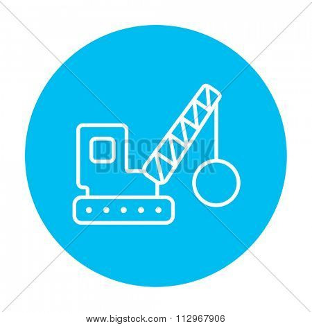 Demolition trailer line icon for web, mobile and infographics. Vector white icon on the light blue circle isolated on white background.