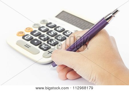 Calculator With Hand Isolated On White Background