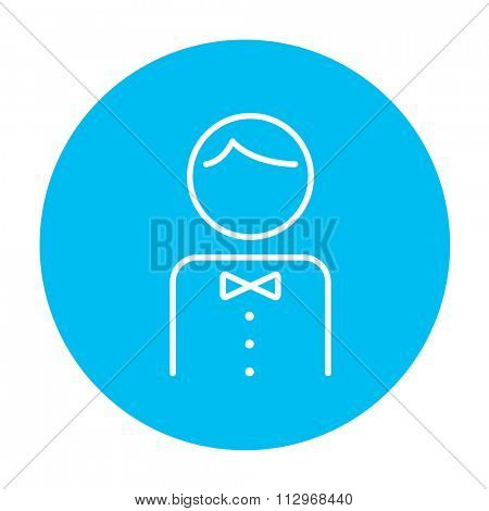Waiter line icon for web, mobile and infographics. Vector white icon on the light blue circle isolated on white background.