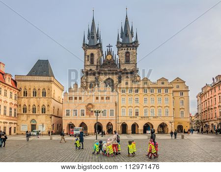 Children In Front Of Tyn Cathedral In Prague
