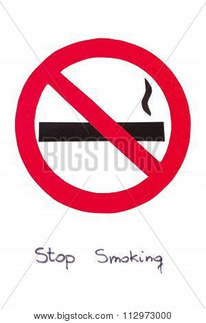 Red no smoking sign made of paper with inscription stop smoking symbol of prohibited smoking healthy lifestyle world no tobacco day poster