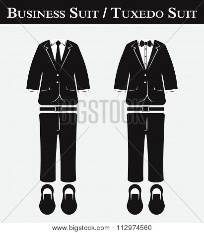 Business Suit And Tuxedo Suit ( Vintage Style , Flat Design )