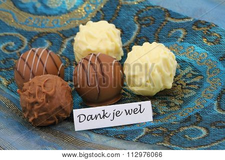 Dank je wel (thank you in Dutch) with assorted chocolates and pralines