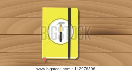 manual user guide book yellow hammer icon flat vector poster