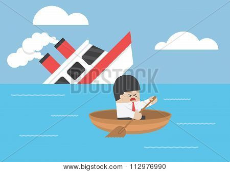 Businessman Escape From The Shipwreck