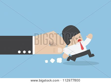Businessman Pulled By Large Hand
