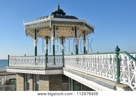 Wrought metal bandstand by sea