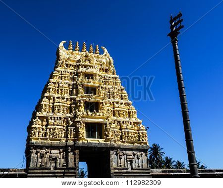 Entrance gopuram of Chennakesava temple at Belur, Karnataka captured on December 30th, 2015