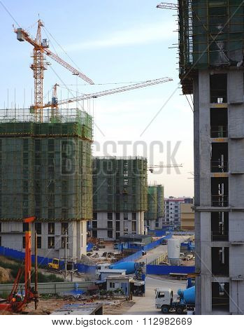 Jinzhong, China - October 23: Lagre-scale Construction, Shanxi Province Of China, October 23, 2014