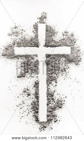 Christian Cross Made Of Ash