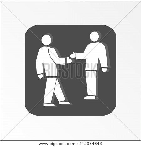 Office web icon. Handshake. Succes deal symbol.  White people silhouette on dark grey background . V