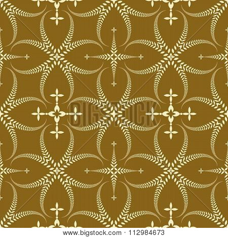 Seamless laurel wreath pattern. Curled, swirl stylized ornament with cross. Lace view texture. Cerem