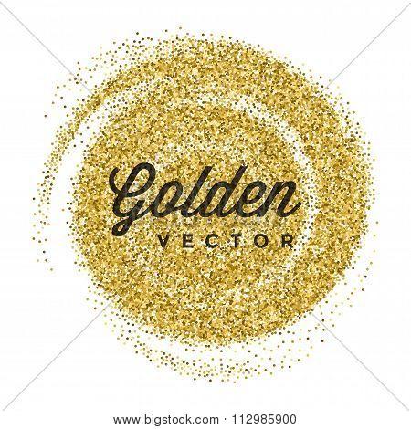 Gold Glitter Sparkles Bright Confetti white vector background