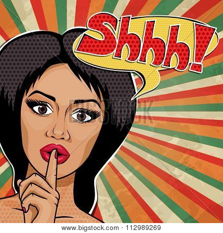 Vector Pop Art African American Woman With Finger On Lips For Quiet Silence, Message Shhhhh!
