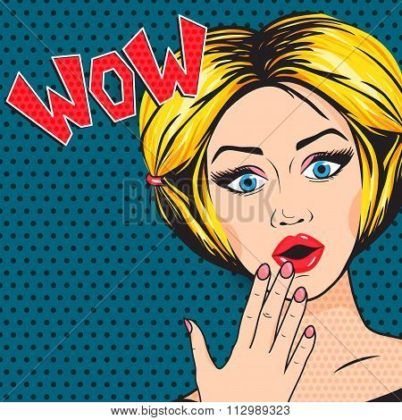 Vector Pop Art Shocked Woman With Open Mouth, Wow Message Comic Style. Retro Blonde Surprised Woman