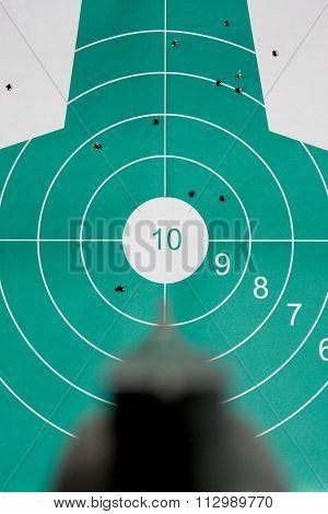 Hand Gun Aim Straight At Target