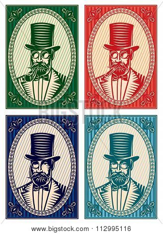 Vector Colorful Illustrations With A Gentleman And A Variety Of Accessories