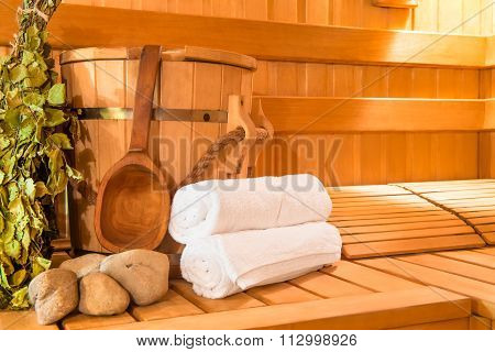 Wooden Finnish Sauna, Shooting Objects In The The Empty Steam Room