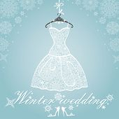 Bridal shower dress, Winter invitation card.Openwork wedding dress.Snowflakes lace fabric.Christmas, New Year party.Fashion vector Illustration.Falling snowflakes background. poster