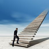 Concept conceptual 3D business man walking or climbing stair on sky background with clouds, metaphor to success, career, work, job, achievement, development, growth, progress, vision, future or faith poster