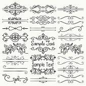 Set of Hand Drawn Sketched Black Doodle Design Elements. Decorative Floral Rustic Dividers, Borders, Swirls, Scrolls, Text Frames. Vintage Vector Illustration. poster