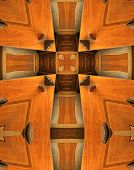 kaleidoscope cross from photo of wooden seats for benedictine monks at mt. angel abbey oregon poster