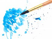 brush with blue paint stroke and stick, isolated on white poster