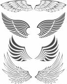 Wings in different forms and styles for emblems poster